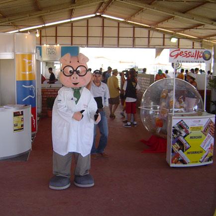 Professor no pavilhão da suinocultura., Show Rural Coopavel 2005, Show Rural Coopavel 2005