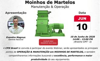Operação e manutenção em moinhos de martelos é tema de webinar da CPM Brasil