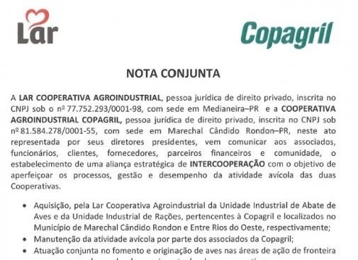 Lar acquires poultry slaughter  and food factory of Copagril