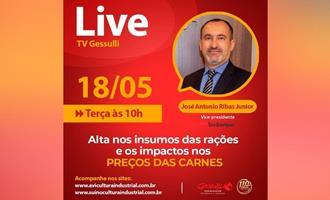 Live sobre a alta nos insumos das rações e os impactos nos preços das carnes, com vice-presidente do Sindiavipar
