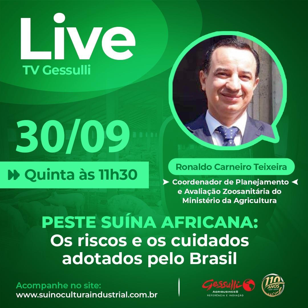 Live, hoje às 11h30, sobre PSA: Os riscos e os cuidados adotados pelo Brasil