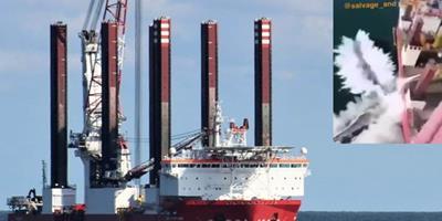 Três pás gigantes de turbina eólica, de 61 metros e pesando 126 toneladas, caíram do navio enquanto realizava manutenção programada